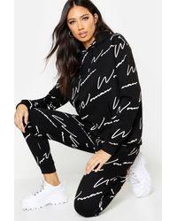 Boohoo Woman All Over Print Tracksuit - Black