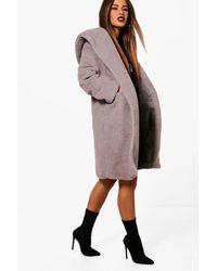 Boohoo Petite Oversized Hooded Teddy Coat - Grey