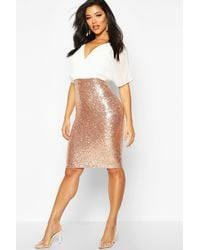 Boohoo Batwing Top Sequin Skirt Midi - Multicolore