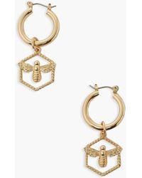 Boohoo Bee Drop Hexagon Earrings - Metallic