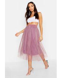 Boohoo Womens Tulle Longer Length Midi Skirt - Purple