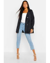 Boohoo Double Breasted Short Trench - Black