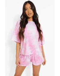 Boohoo Petite Tie Dye Pj Shorts Set - Pink
