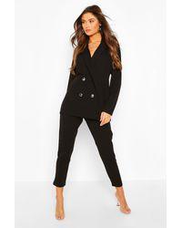 Boohoo Womens Anzug-Set Mit Zweireihigem Blazer Und Hose - Schwarz