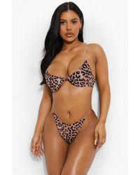Boohoo Leopard Underwire Clear Strap Bikini Top - Brown