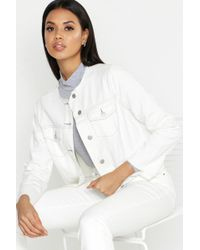 Boohoo White Raw Hem Contrast Stitch Denim Jacket
