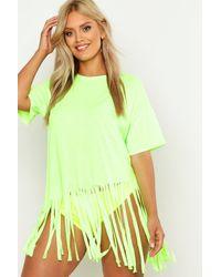 Boohoo Vestido Playero Con Borlas Plus - Verde