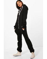 Boohoo - Macey Contrast Pocket & Tie Zip Up Onesie - Lyst