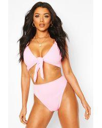 Boohoo - Bikini Taille Haute Noué Devant Froissé - Lyst