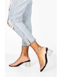 Boohoo Zapatos De Tacón De Bloque Bajo Transparente De 2 Piezas - Negro