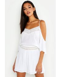 Boohoo Tall Lace Detail Crinkle Cold Shoulder Playsuit - Bianco