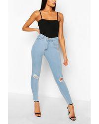 Boohoo High Waist Frayed Hem Distressed Skinny Jeans - Blue