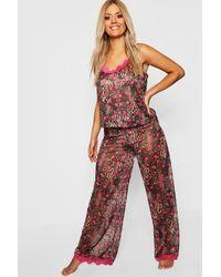 Boohoo Womens Gemma Collins Chiffon Pyjama Set In Leopardenmuster Mit Spitzenbesatz - Braun