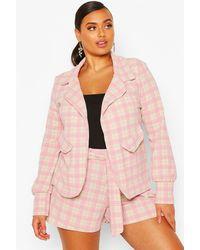 Boohoo - Womens Plus Small Flannel Shawl Collar Oversized Blazer - Lyst