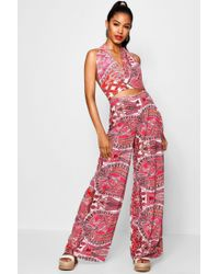Boohoo - Hailey Neon Paisley Trouser Co-ord Set - Lyst