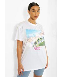 Boohoo - Camiseta Ancha De Palmera California - Lyst