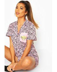 Boohoo Disney Lion King Jersey Printed Pj Set - Pink