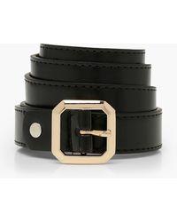 Boohoo Square Detail Buckle Pu Boyfriend Belt - Black