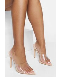 Boohoo Wide Fit Clear Pointed Toe Heels - Natural