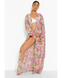 Boohoo Tropical Maxi Chiffon Beach Kimono - Purple