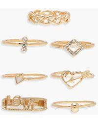 """Boohoo Confezione con anelli impilabili a scritta """"LOVE"""" - Metallizzato"""