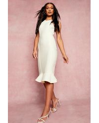Boohoo Bandage Racer Neck Frill Hem Midi Dress - White