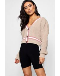Boohoo - V-neck Button Up Plunge Tipped Crop Cardigan - Lyst