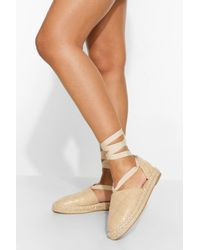 Boohoo Quilted Wrap Up Espadrille - Natural