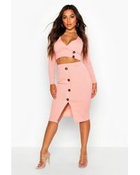 Boohoo - Petite Button Down Skirt & Top Co-ord - Lyst
