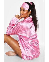 Boohoo Stripe Print 5 Piece Pj Set - Pink