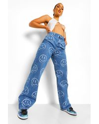 Boohoo Printed Boyfriend Jeans - Blu