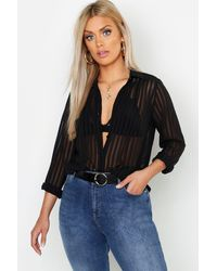 Boohoo - Womens Plus Burn Out Stripe Shirt - Lyst