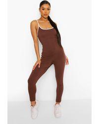 Boohoo Side Stripe Strappy Plunge Jumpsuit - Brown