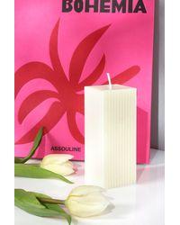 Boohoo Ribbed Square Pillar Candle - White
