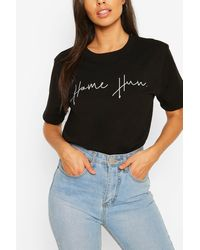 Boohoo Home Hun Slogan Tee - Black