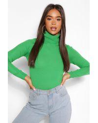 Boohoo Basic Roll Neck Sweater - Green