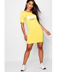 Boohoo - Oversized Slogan T-shirt Dress - Lyst