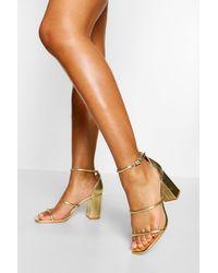 Boohoo Triple Strap Block Heel Sandals - Multicolor