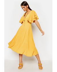 Boohoo Womens Ruffle Angel Sleeve Bolo Tie Midi Dress - Yellow