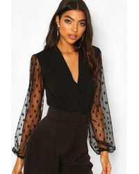 Boohoo Womens Tall Body Aus Dobby-Mesh Im Wickeldesign - Schwarz