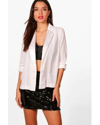 Boohoo - Hailey Plunge Tuxedo Shirt - Lyst