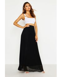 Boohoo Womens Chiffon Pleated Maxi Skirt - Black