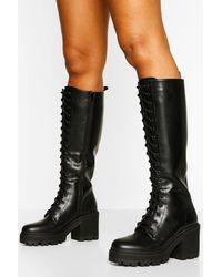 Boohoo Knee High Lace Up Chunky Hiker Boot - Black