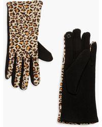 Boohoo Womens Leopard Ponti Glove - Beige - One Size - Natural
