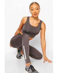 Boohoo Active Compression Tight With Panel - Grey