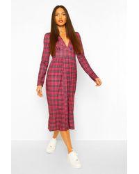 Boohoo Tall Woven Long Sleeve Check Print Midi Dress - Rosso