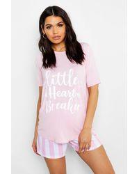 "Boohoo Womens Umstandsmode Kurzer Pyjama mit ""Heart Breaker""-Slogan - Pink"