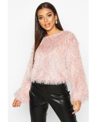 Boohoo Womens Feather Knit Sweater - Pink