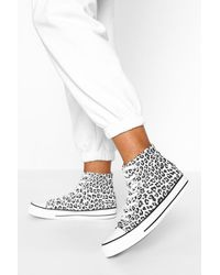 Boohoo Leopard Print High Top Canvas Trainers - White