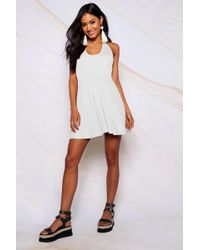 Lyst - Boohoo Boutique Asymmetric Hem Skater Dress in White 29f053eb5